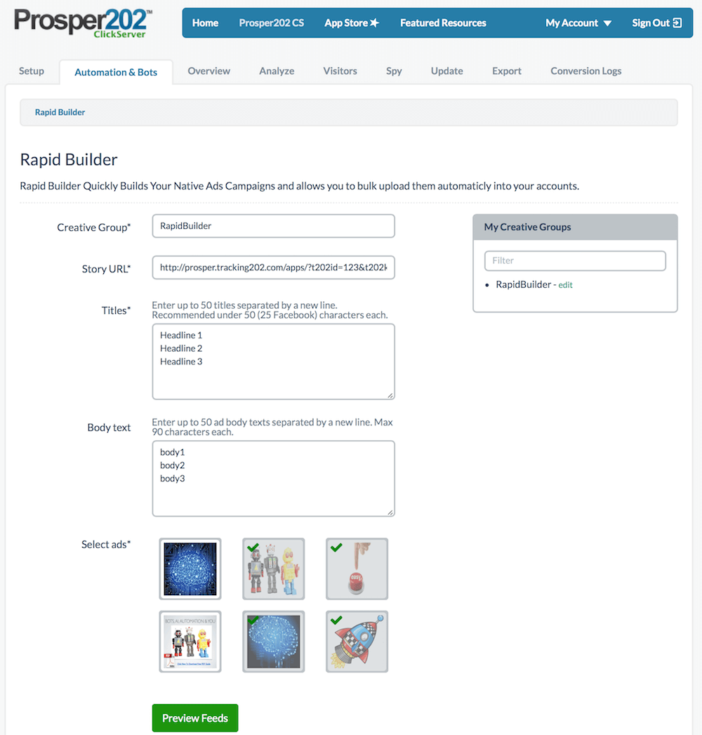 Prosper202 Rapid Ad Builder
